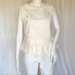 NANETTE LEPORE WOMAN EMBROIDERED TOP SIZE 8 WHITE